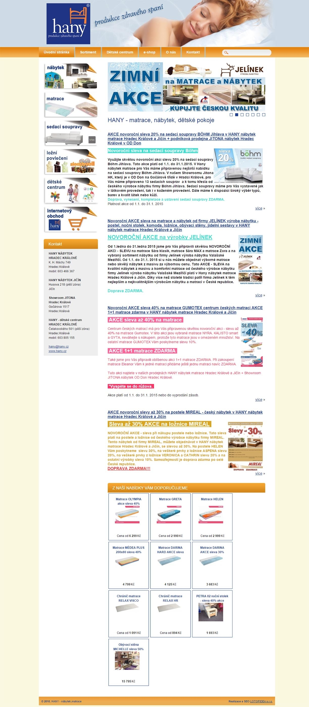 Hany - Prodej matrací, postelí, nábytku