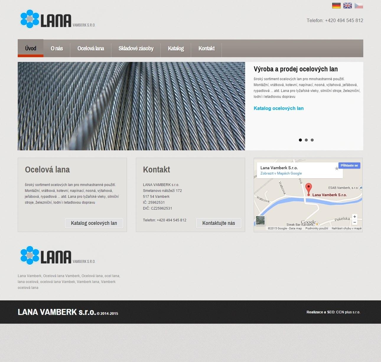 Lana Vamberk - Výroba a prodej ocelových lan