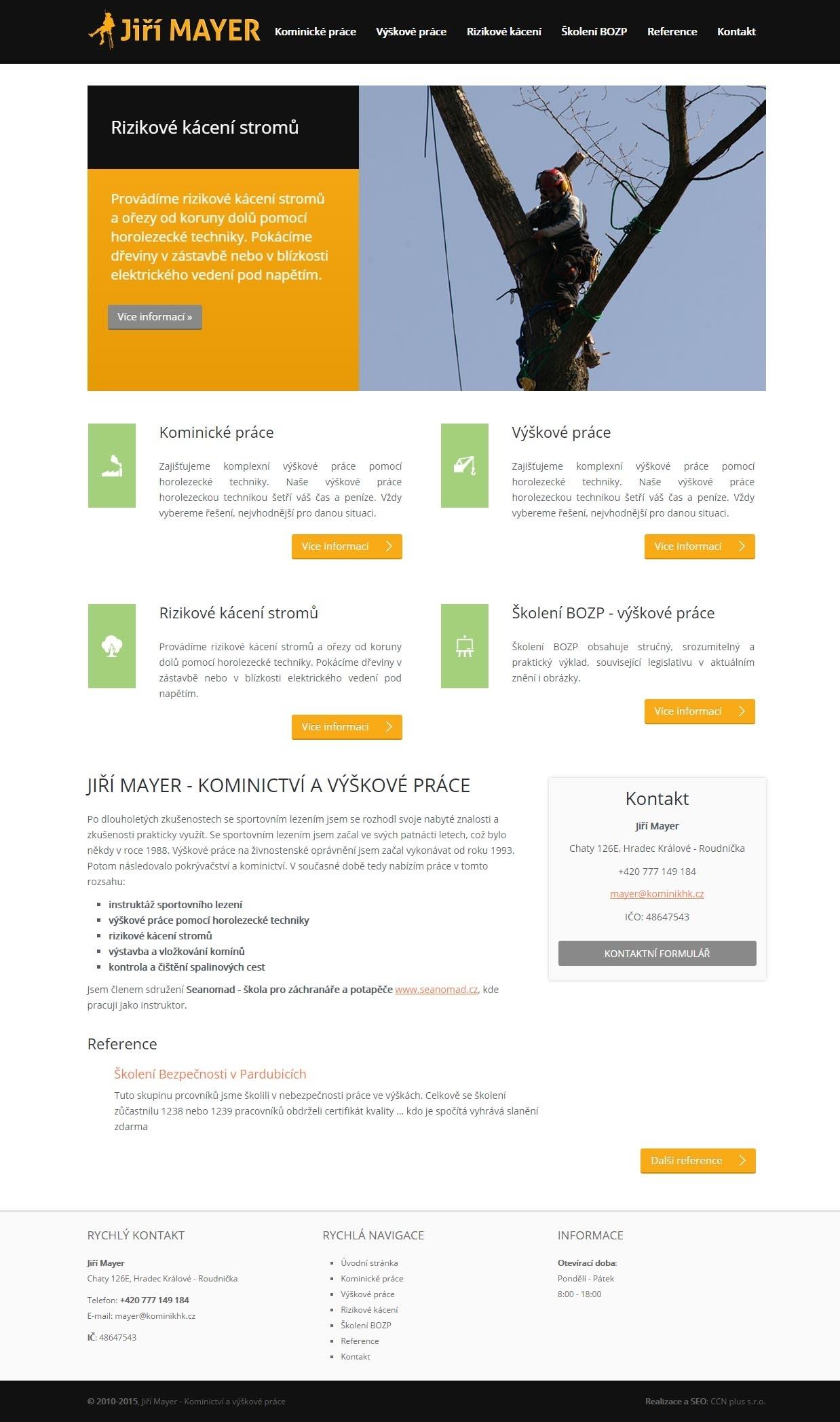 Kominík HK - výškové práce, rizikové kácení stromů